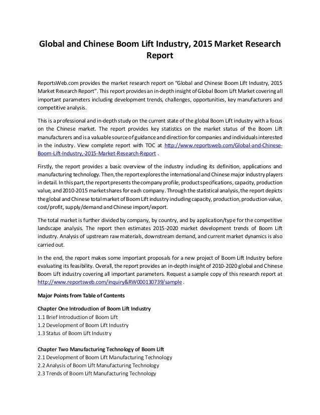 """Global and Chinese Boom Lift Industry, 2015 Market Research Report ReportsWeb.com provides the market research report on """"..."""