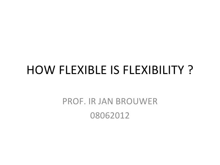 HOW FLEXIBLE IS FLEXIBILITY ?      PROF. IR JAN BROUWER             08062012