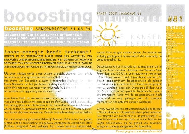 AANKONDIGING 31 03 05     Zonne-energie heeft toekomst!                                                            waarbij...