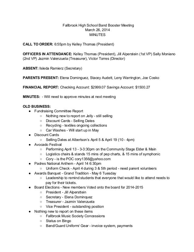 Booster meeting minutes 3 26-14