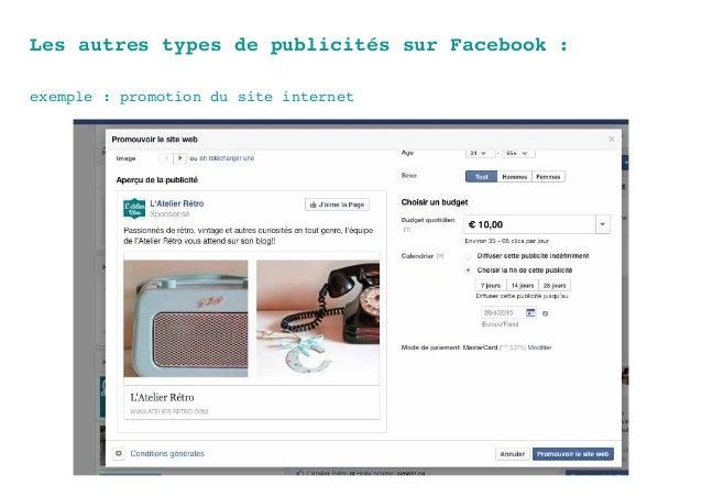 Les autres types de publicités sur Facebook : exemple : promotion du site internet