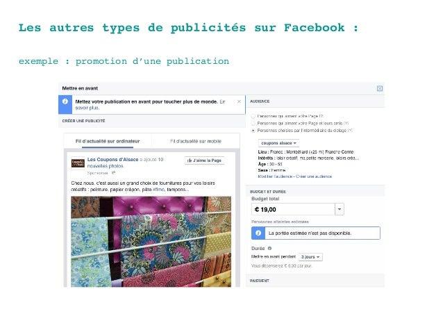 Les autres types de publicités sur Facebook : exemple : promotion d'une publication