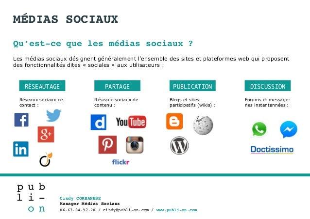 Cindy CORBANESE Manager Médias Sociaux 06.67.84.97.20 / cindy@publi-on.com / www.publi-on.com MÉDIAS SOCIAUX Qu'est-ce que...
