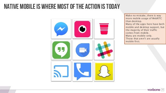 19 NATIVE MOBILE IS WHERE MOST OF THE ACTION IS TODAY Make no mistake, there is way more mobile usage of WebRTC than deskt...