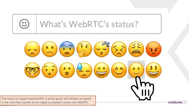 25 😞🙁😨🤔😴😣😩😡 🤓😯😮😓😀😊🙂😃 What's WebRTC's status? The status of supporting WebRTC is pretyt good and will get very good in the ...