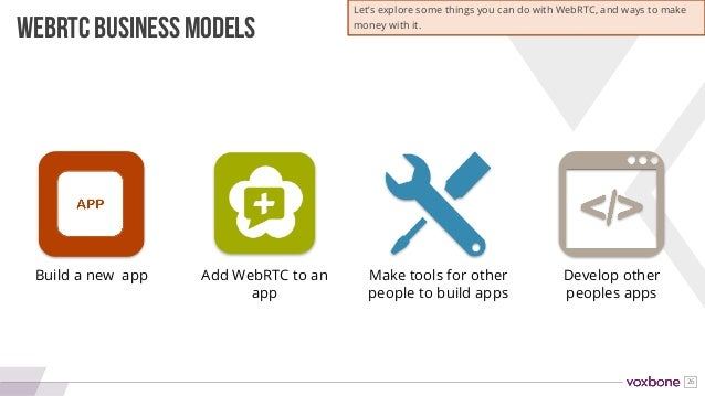26 Build a new app Add WebRTC to an app Make tools for other people to build apps Develop other peoples apps WEBRTC BUSINE...