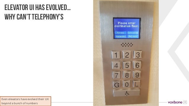 41 ELEVATOR UI HAS EVOLVED… WHY CAN'T TELEPHONY'S Even elevators have evolved their UX beyond a bunch of numbers