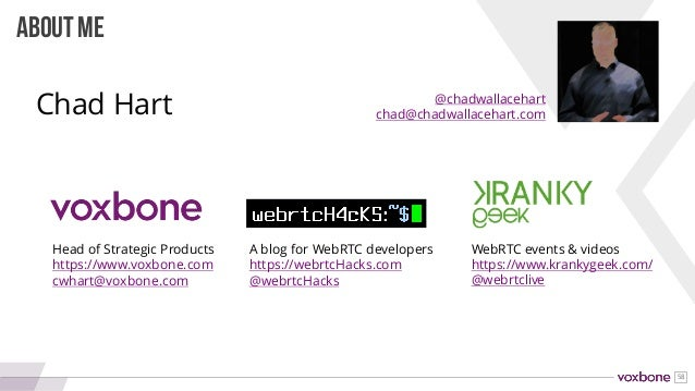 58 ABOUT ME Head of Strategic Products https://www.voxbone.com cwhart@voxbone.com A blog for WebRTC developers https://web...