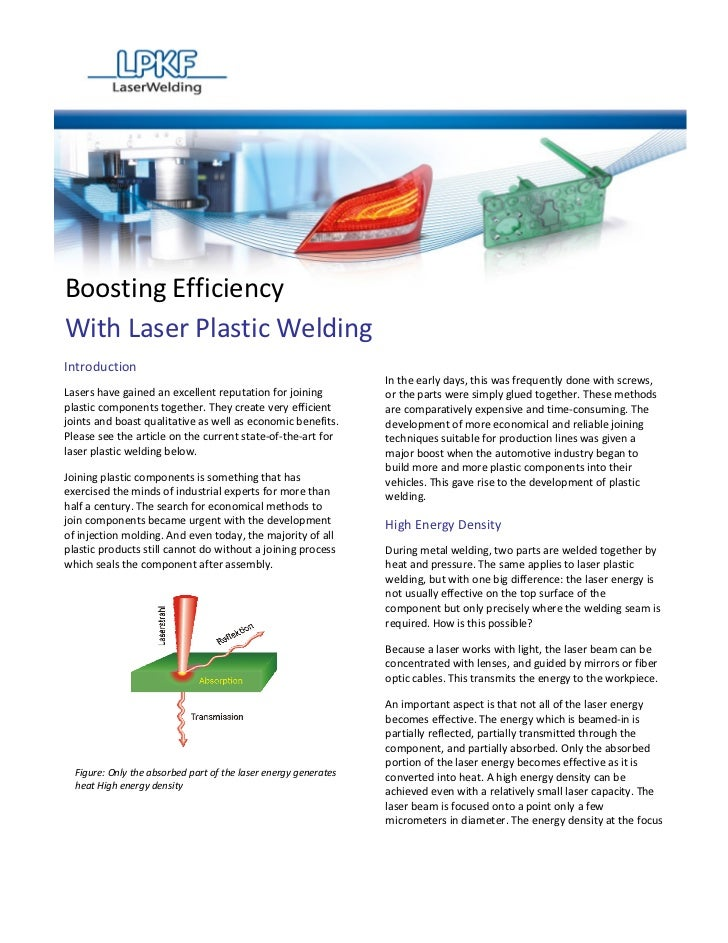 Boosting EfficiencyWith Laser Plastic WeldingIntroduction                                                                 ...