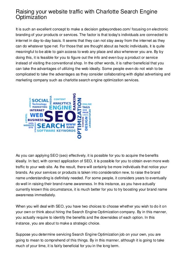 Raising Your Website Traffic With Charlotte Search Engine Optimization