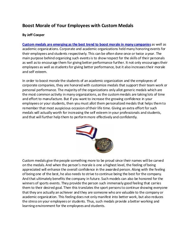 Boost Morale of Your Employees with Custom Medals By Jeff Cooper Custom medals are emerging as the best trend to boost mor...
