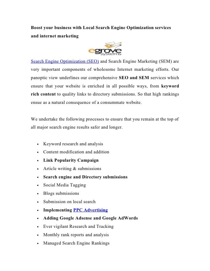 Boost your business with Local Search Engine Optimization services and internet marketing     Search Engine Optimization (...