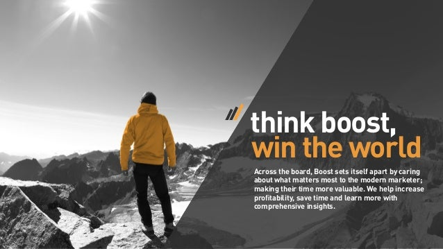 think boost, win the world Across the board, Boost sets itself apart by caring about what matters most to the modern marke...