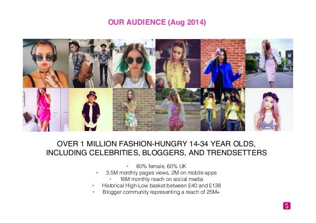 OUR AUDIENCE (Aug 2014)!  OVER 1 MILLION FASHION-HUNGRY 14-34 YEAR OLDS,  INCLUDING CELEBRITIES, BLOGGERS, AND TRENDSETTER...