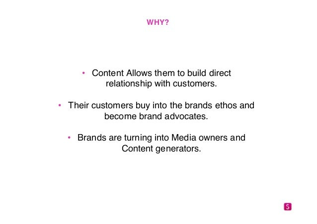 """WHY?!  • Content Allows them to build direct  relationship with customers.""""  • Their customers buy into the brands ethos a..."""