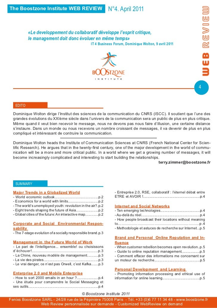 The Boostzone Institute WEB REVIEW                                                     N°4. April 2011               «Le d...