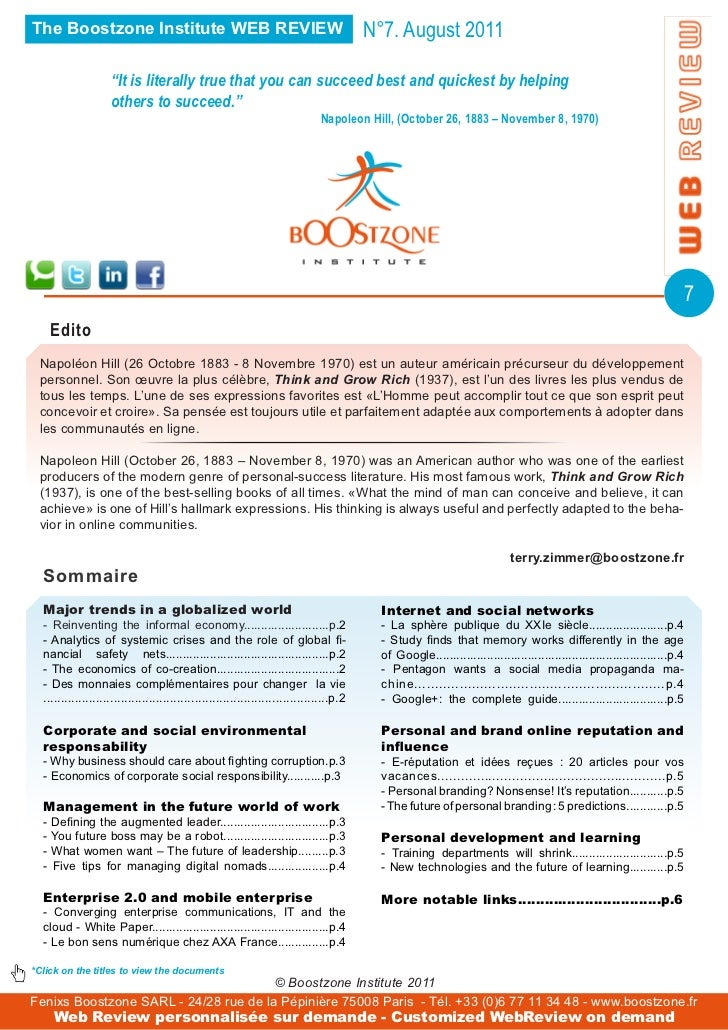 The Boostzone Institute WEB REVIEW                                                       N°7. August 2011                 ...