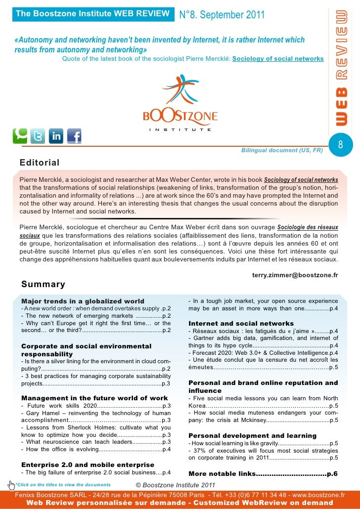 The Boostzone Institute WEB REVIEW                                                     N°8. September 2011«Autonomy and ne...