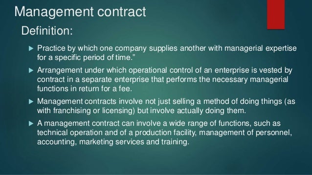 what are the advantages of management contracts and franchising