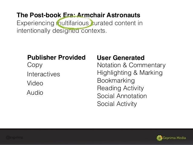 @exprimaThe Post-book Era: Armchair AstronautsExperiencing multifarious curated content inintentionally designed contexts....