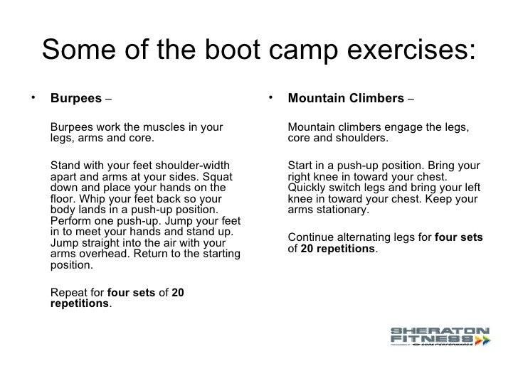 boot camp exercise. Black Bedroom Furniture Sets. Home Design Ideas