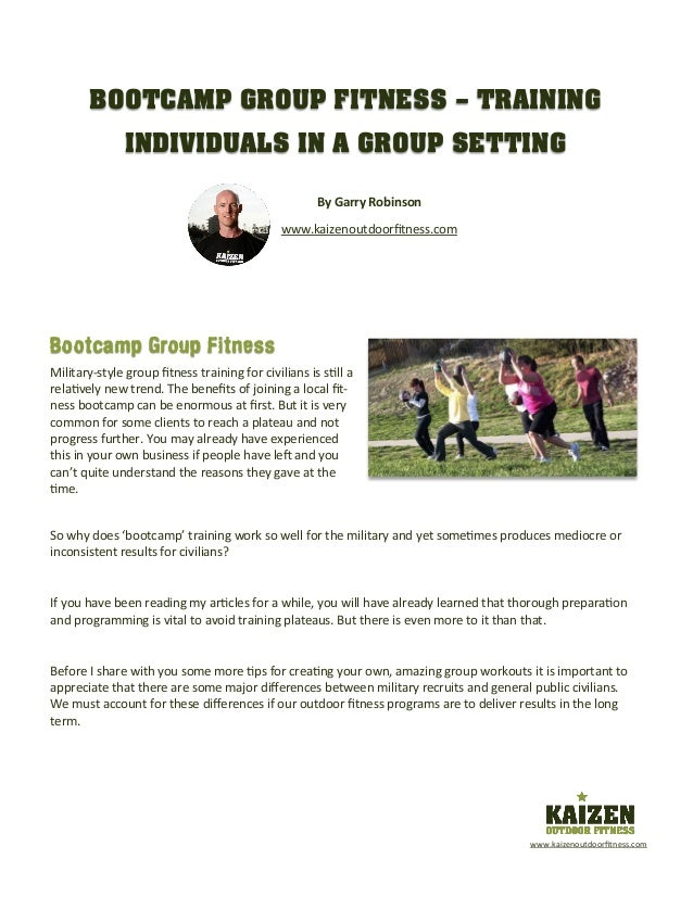 Bootcamp Group Fitness – Training Individuals in a Group Setting