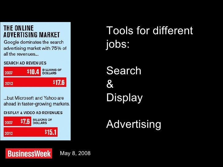May 8, 2008 Tools for different jobs: Search & Display Advertising