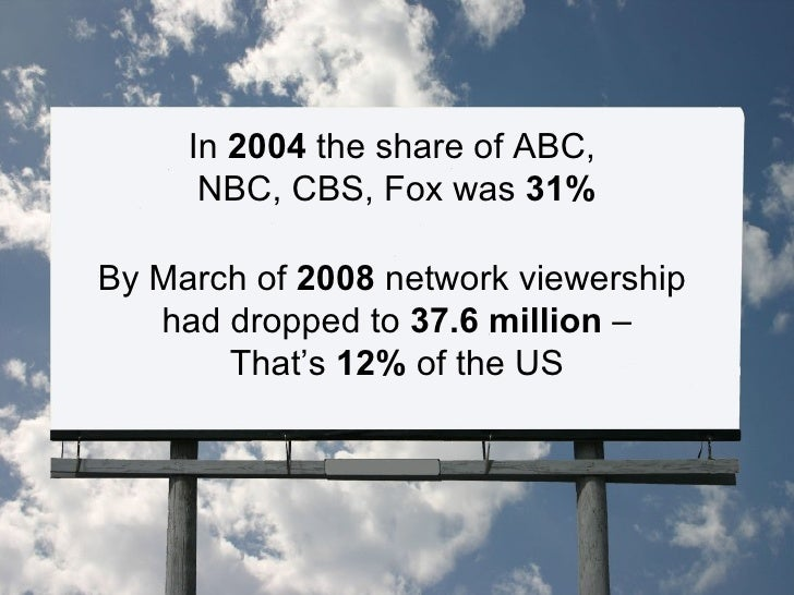 In  2004  the share of ABC,  NBC, CBS, Fox was  31% By March of  2008  network viewership  had dropped to  37.6 million  –...