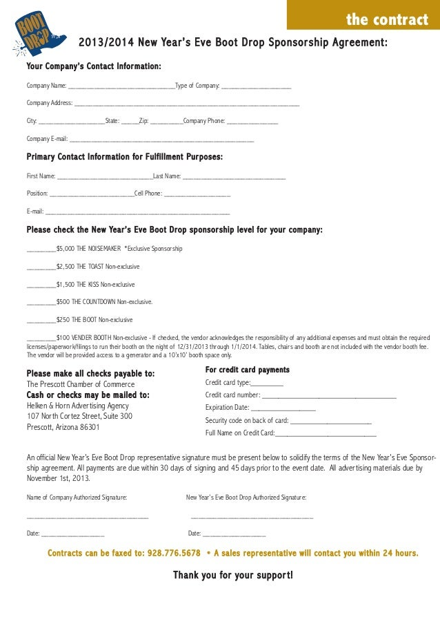 Boot Drop 2013/14 Sponsorship Form