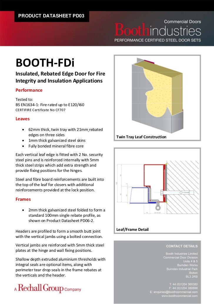 PRODUCT DATASHEET PD03BOOTH\u2010FDi Insulated Rebated Edge Door for Fire Integrity and Insulation Applications ...