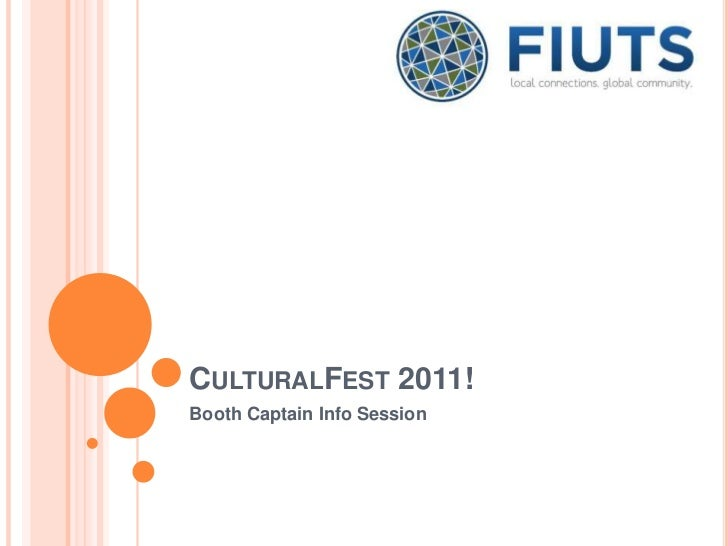 CULTURALFEST 2011!Booth Captain Info Session
