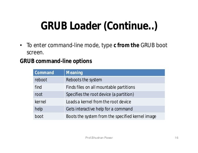 GRUB Loader (Continue..) • To enter command-line mode, type c from the GRUB boot screen. GRUB command-line options Command...