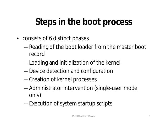 Steps in the boot process • consists of 6 distinct phases – Reading of the boot loader from the master boot record – Loadi...