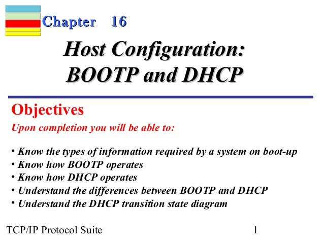Chapter          16            Host Configuration:            BOOTP and DHCP Objectives Upon completion you will be able t...