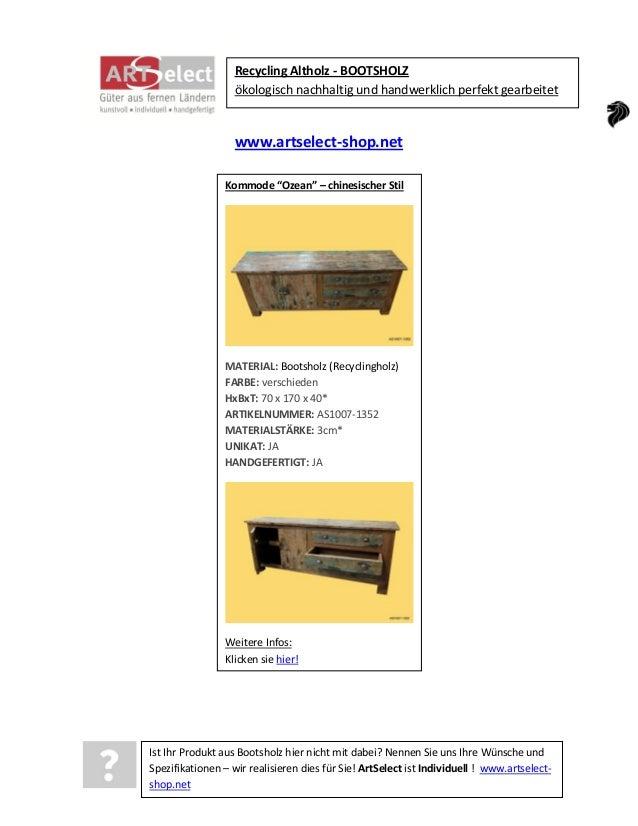 """Recycling Altholz - BOOTSHOLZ ökologisch nachhaltig und handwerklich perfekt gearbeitet  www.artselect-shop.net Kommode """"O..."""
