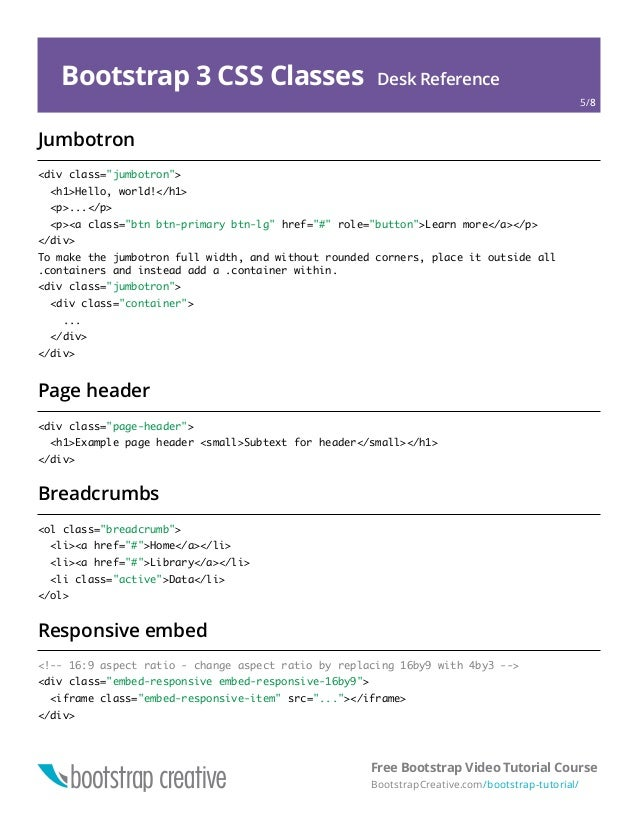 Bootstrap 3 Cheat Sheet PDF Reference