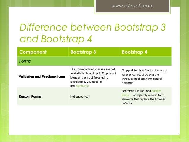 Bootstrap 3 vs. bootstrap 4