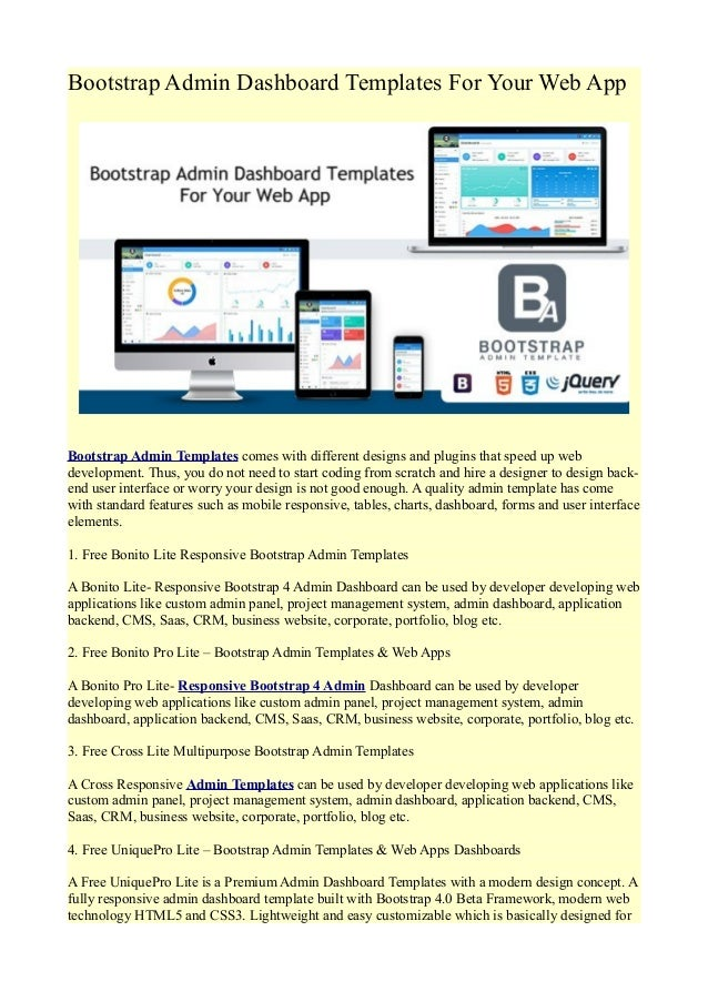 Bootstrap admin dashboard templates for your web app