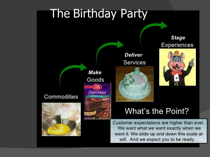 The   Birthday Party <ul><li>Commodities </li></ul>Experiences Services Goods Make Stage Deliver Customer expectations are...