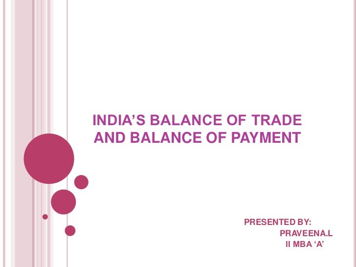 INDIA'S BALANCE OF TRADEAND BALANCE OF PAYMENT                 PRESENTED BY:                       PRAVEENA.L             ...