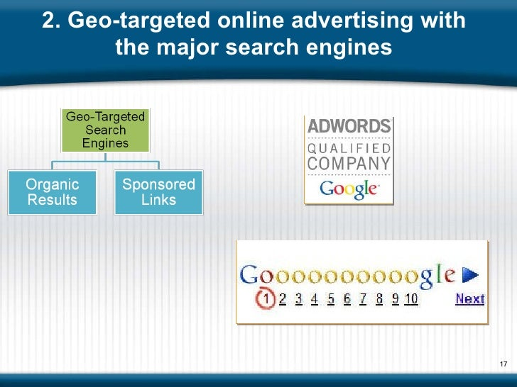 2. Geo-targeted online advertising with the major search engines