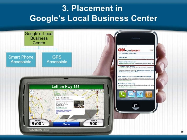3. Placement in  Google's Local Business Center