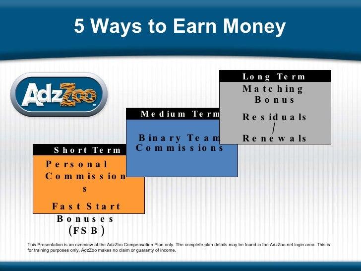 Medium Term Short Term Long Term Personal  Commissions Fast Start Bonuses (FSB) Binary Team Commissions Matching  Bonus Re...
