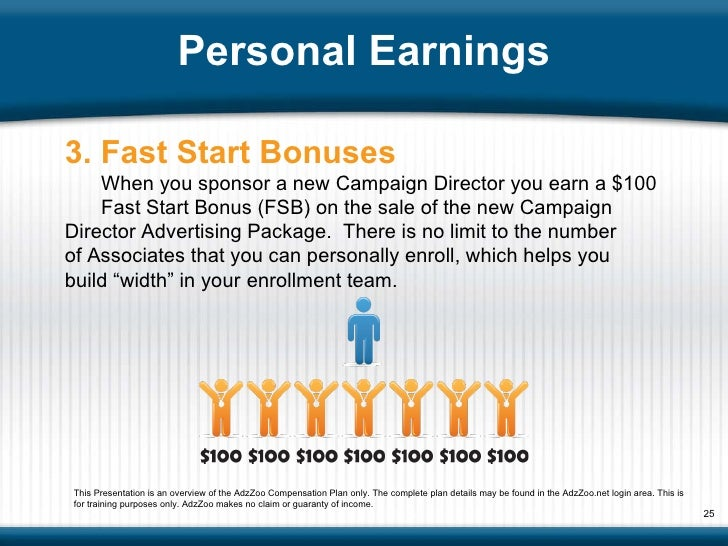 Personal Earnings 3. Fast Start Bonuses When you sponsor a new Campaign Director you earn a $100  Fast Start Bonus (FSB) o...