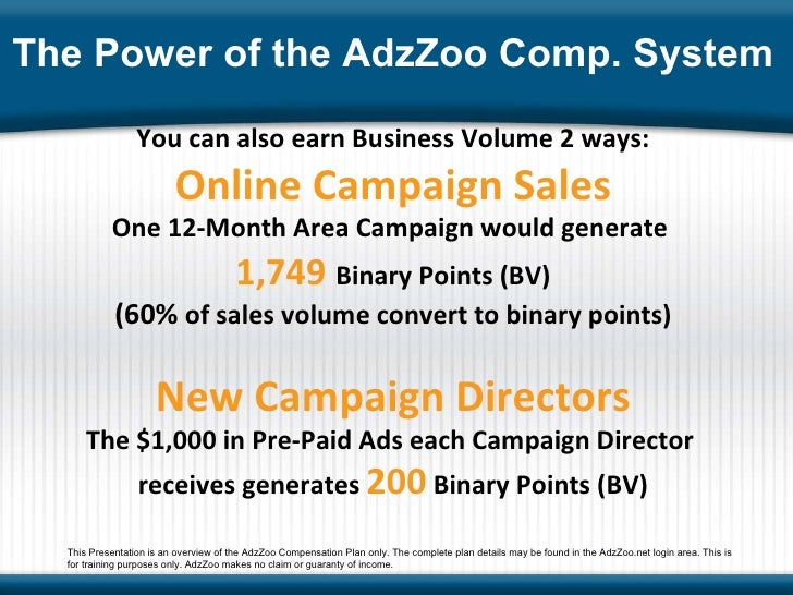 You can also earn Business Volume 2 ways: Online Campaign Sales One 12-Month Area Campaign would generate  1,749   Binary ...