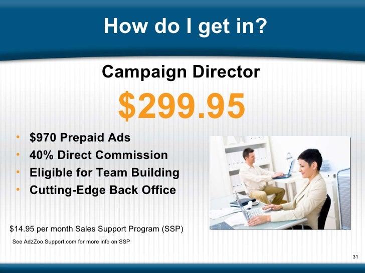 How do I get in? <ul><li>$970 Prepaid Ads  </li></ul><ul><li>40% Direct Commission </li></ul><ul><li>Eligible for Team Bui...