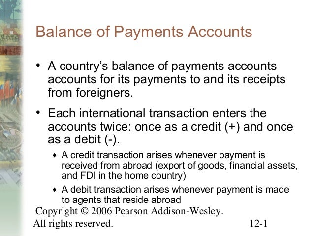 Balance of Payments Accounts• A country's balance of payments accounts  accounts for its payments to and its receipts  fro...
