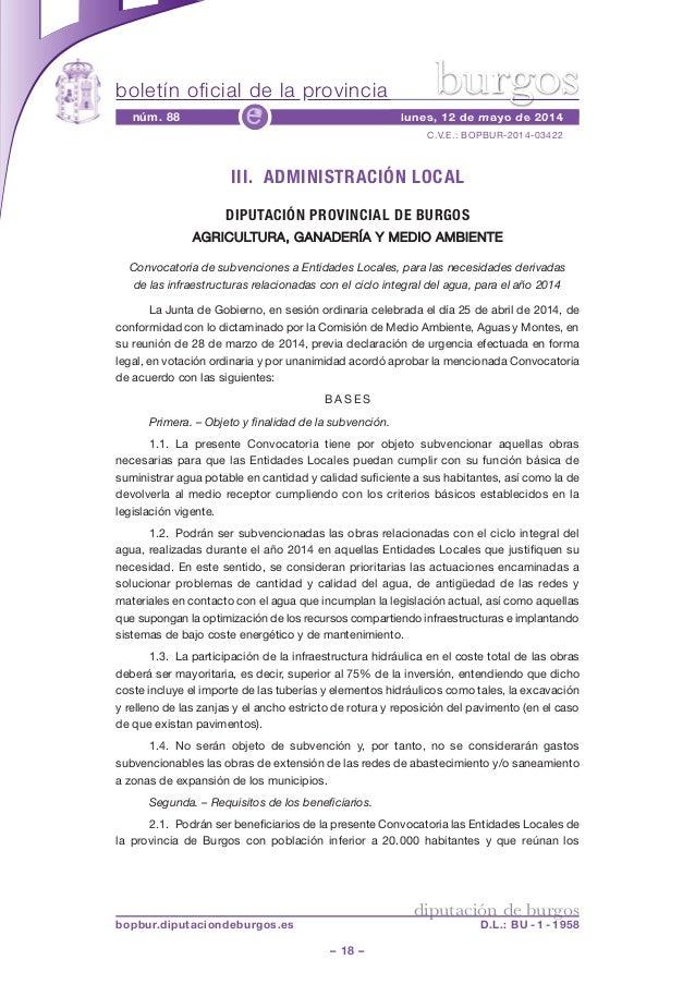 boletín oficial de la provincia – 18 – C.V.E.: BOPBUR-2014-03422 núm. 88 lunes, 12 de mayo de 2014e diputación de burgos b...