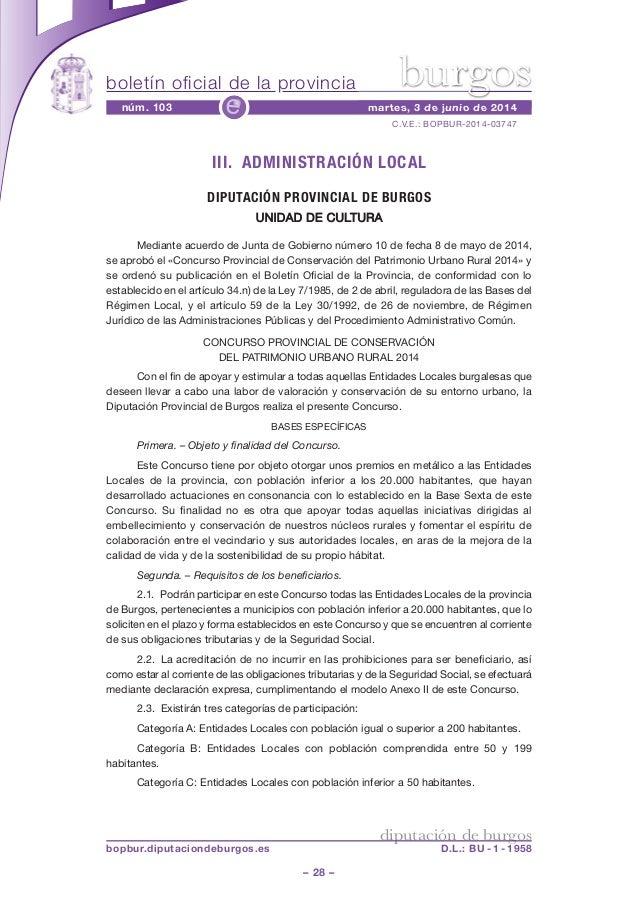 boletín oficial de la provincia – 28 – C.V.E.: BOPBUR-2014-03747 núm. 103 martes, 3 de junio de 2014e diputación de burgos...