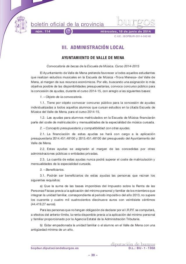 boletín oficial de la provincia – 39 – C.V.E.: BOPBUR-2014-04248 núm. 114 miércoles, 18 de junio de 2014e diputación de bu...